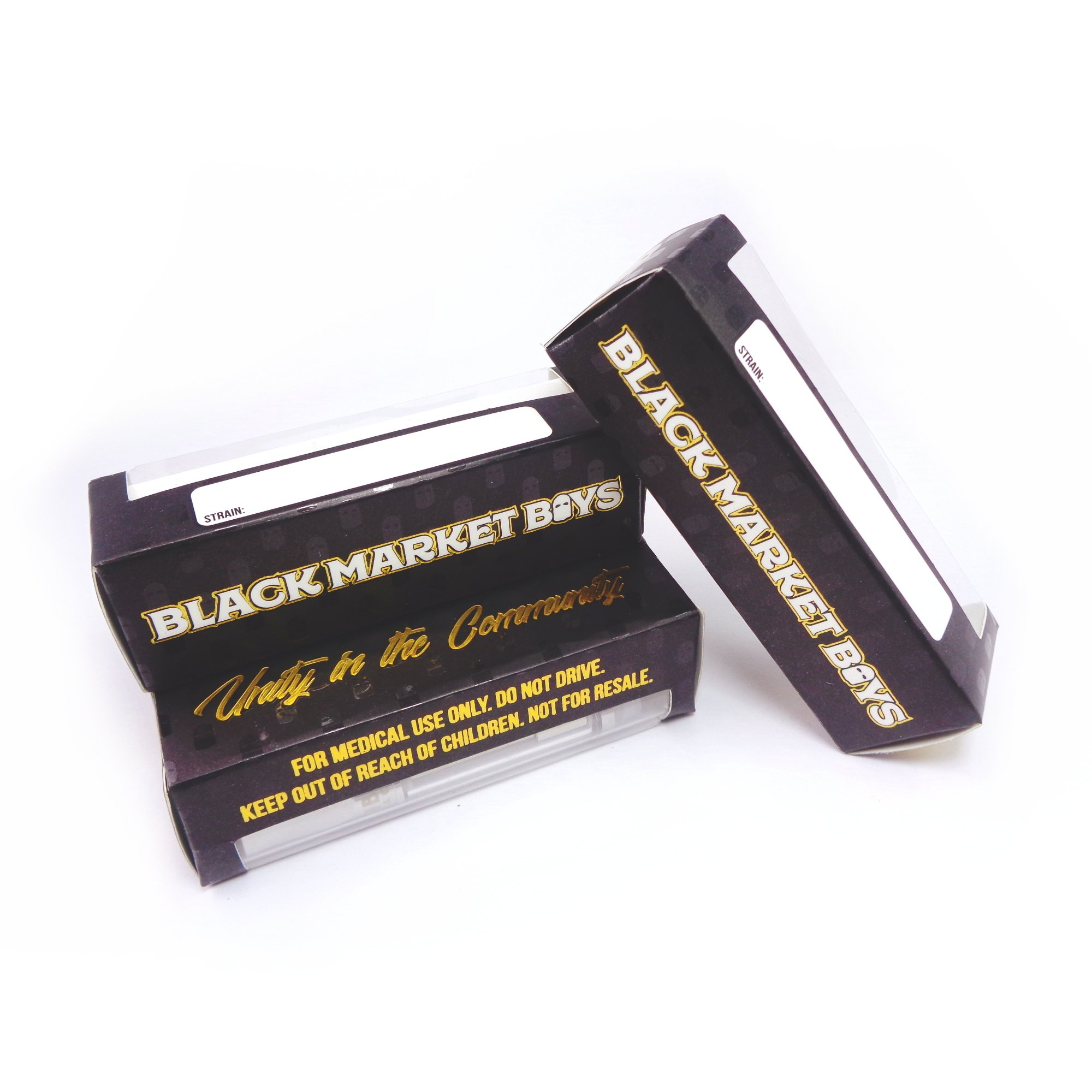 Black Market Boys Strain Oil Empty Concentrate Packaging Slim Boxes by Shatter Labels VB-035 (25)
