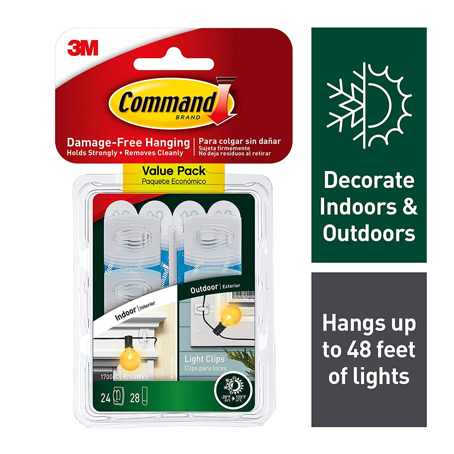 Command Clips for Hanging Outdoor String Lights, 20 Clear Clips