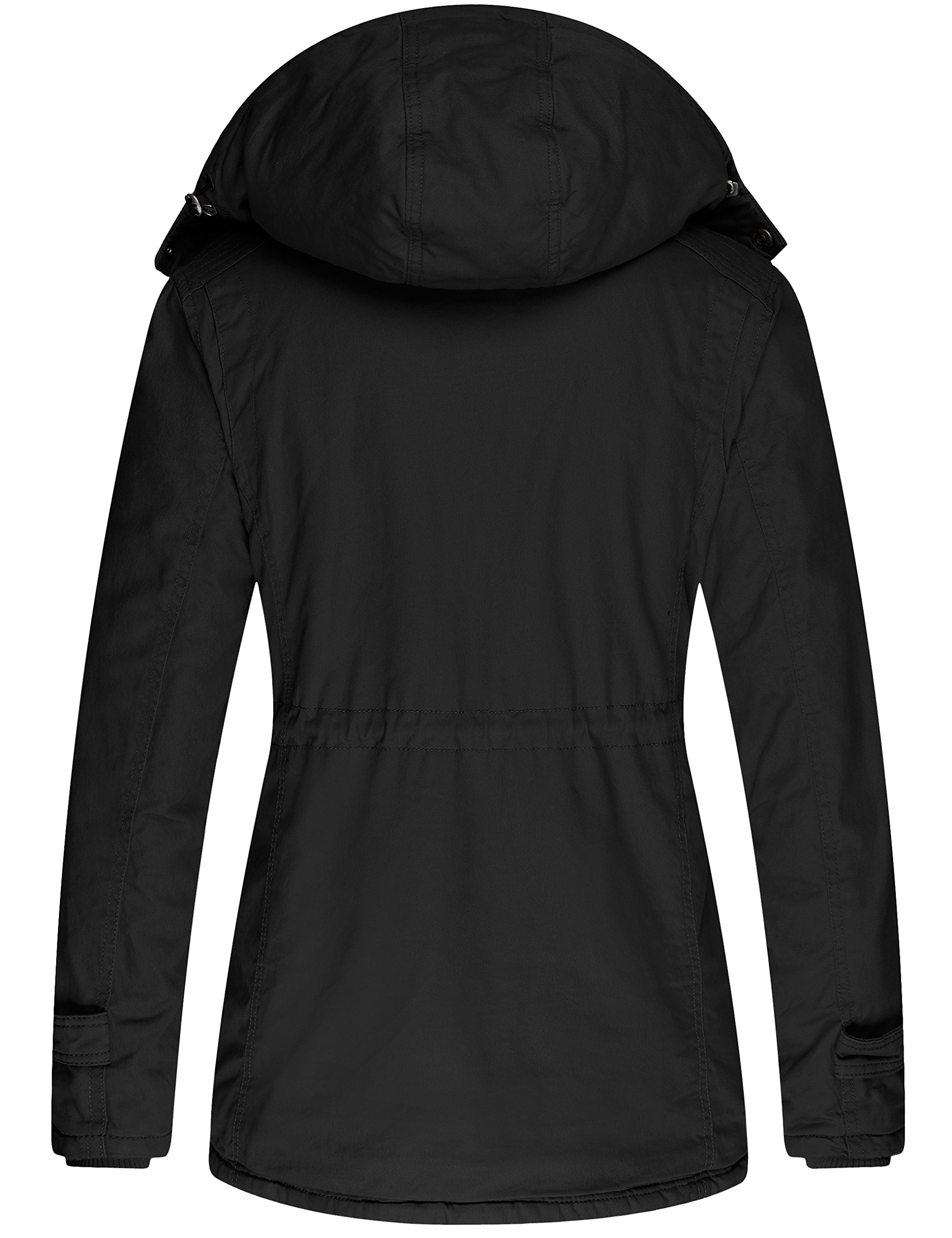 Wantdo Women's Winter Thicken Jacket Cotton Coat with Removable Hood (Black, US M) by Wantdo (Image #2)