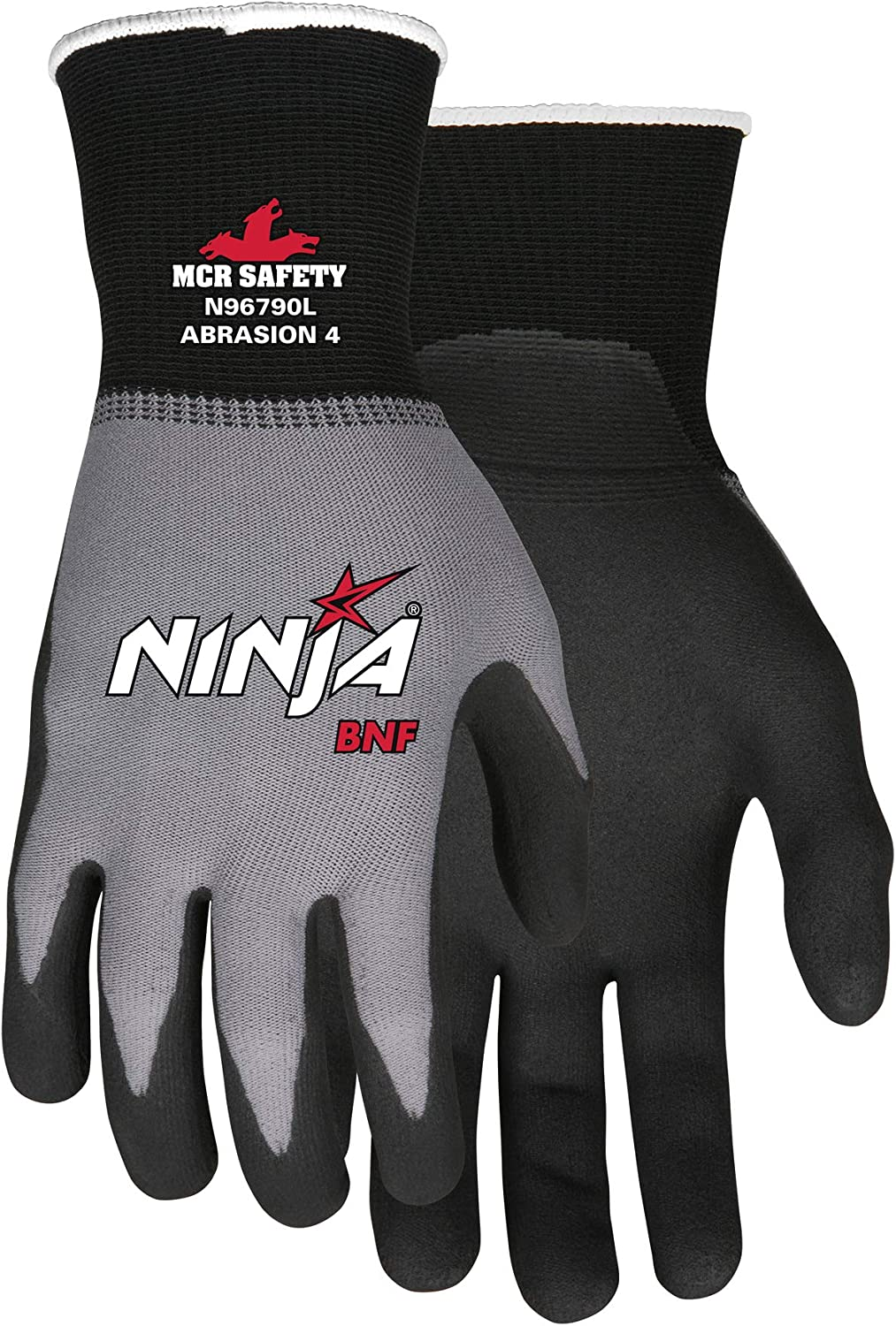 MCR Safety N96790M Ninja BNF Nitrile Gloves, ANSI Puncture 2, Abrasion 4, 15 Gauge Nylon/Spandex Shell with BNF Palm & Fingertips, 1-Pair, Medium