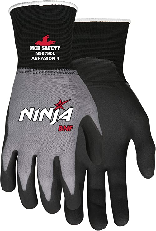 MCR Safety N96790XL Ninja BNF Nitrile Gloves, ANSI Puncture ...
