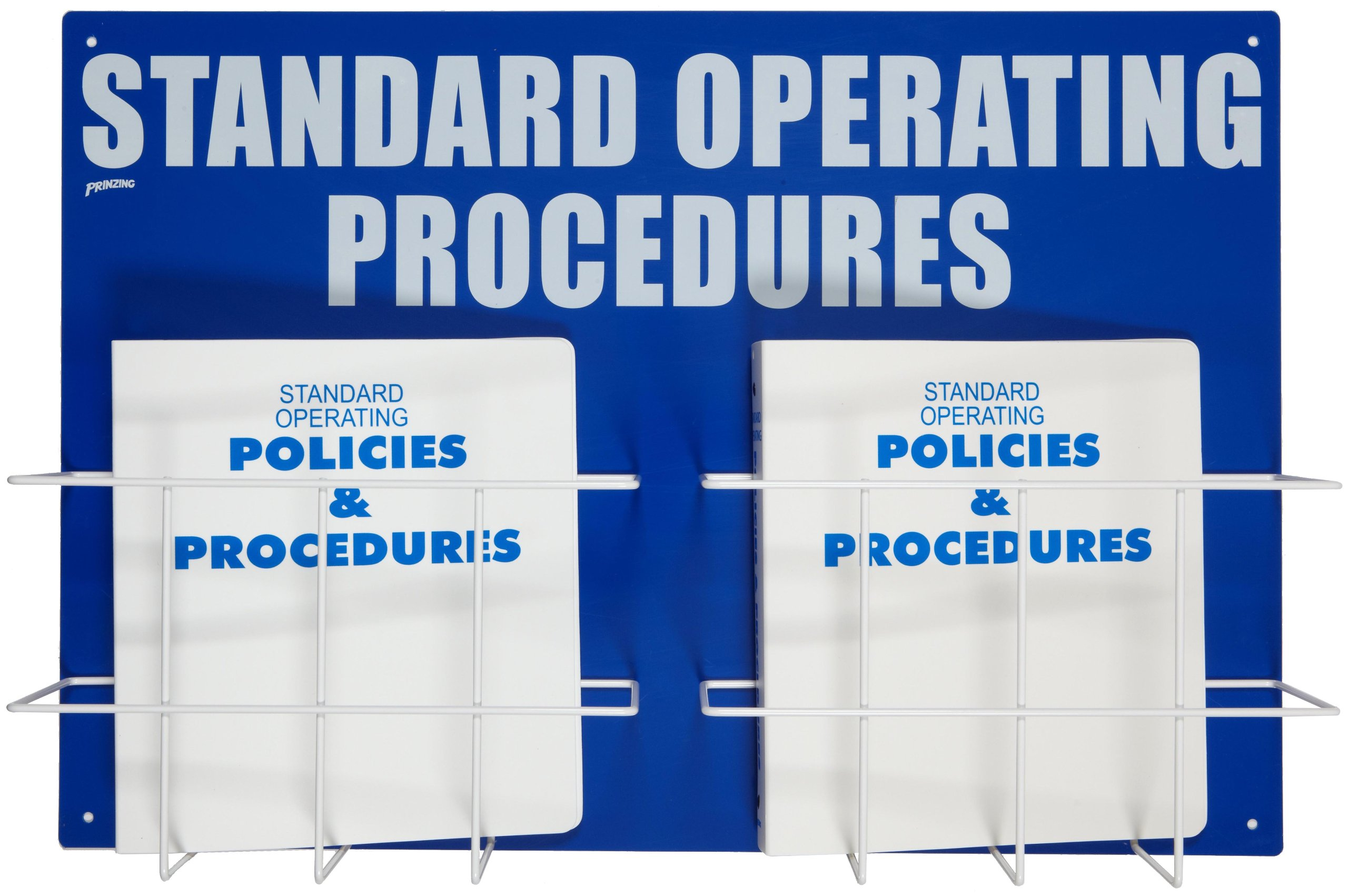 Brady SM682A Heavy-Duty Poly, White On Blue Color Double Standard Operation Procedures Center, Legend ''Standard Operating Procedures''
