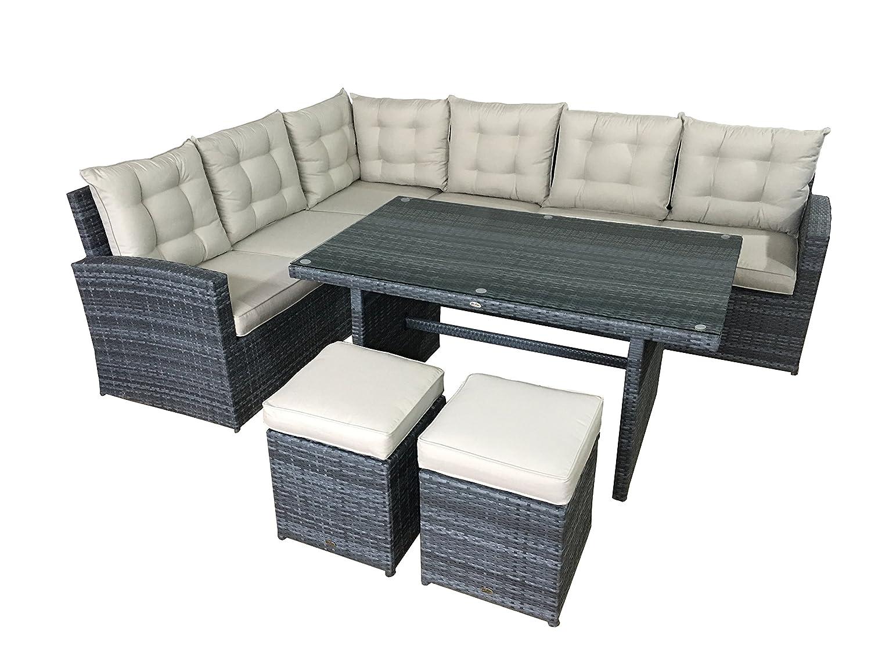 Garten lounge set la palma in grau sitzecke aus polyrattan for Lounge set polyrattan