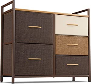 Cubiker Dresser Storage Organizer, 5 Drawer Dresser Tower Unit for Bedroom Hallway Entryway Closets, Small Dresser Clothes Storage with Sturdy Steel Frame Wood Top, Chocolate