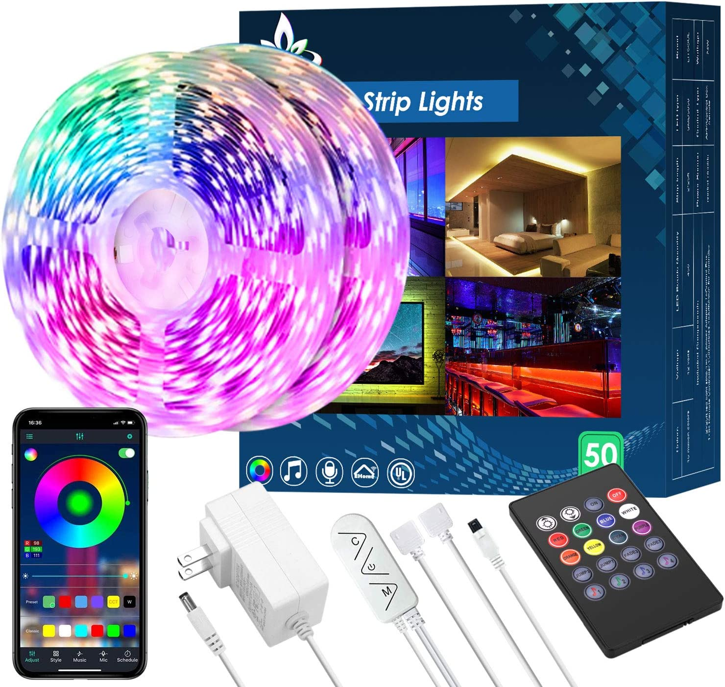 50FT LED Strip Lights,Music Sync LED lights for Bedroom Home Party Decor,RGB Color Changing Rope Light with Remote,Sensitive Built-in Mic App Controlled 12v Ultra Bright,APP+Remote+Mic+3-Button Switch