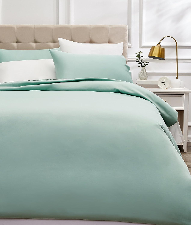 AmazonBasics - Juego de funda nórdica de satén de algodón de 400 hilos - 260 x 220 cm/ 50 x 80 cm x 2, Verde espuma de mar