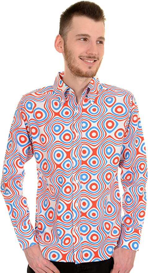 1960s – 70s Mens Shirts- Disco Shirts, Hippie Shirts Run & Fly Mens 60s Retro Red White & Blue Op Art Psychedelic Shirt £9.99 AT vintagedancer.com