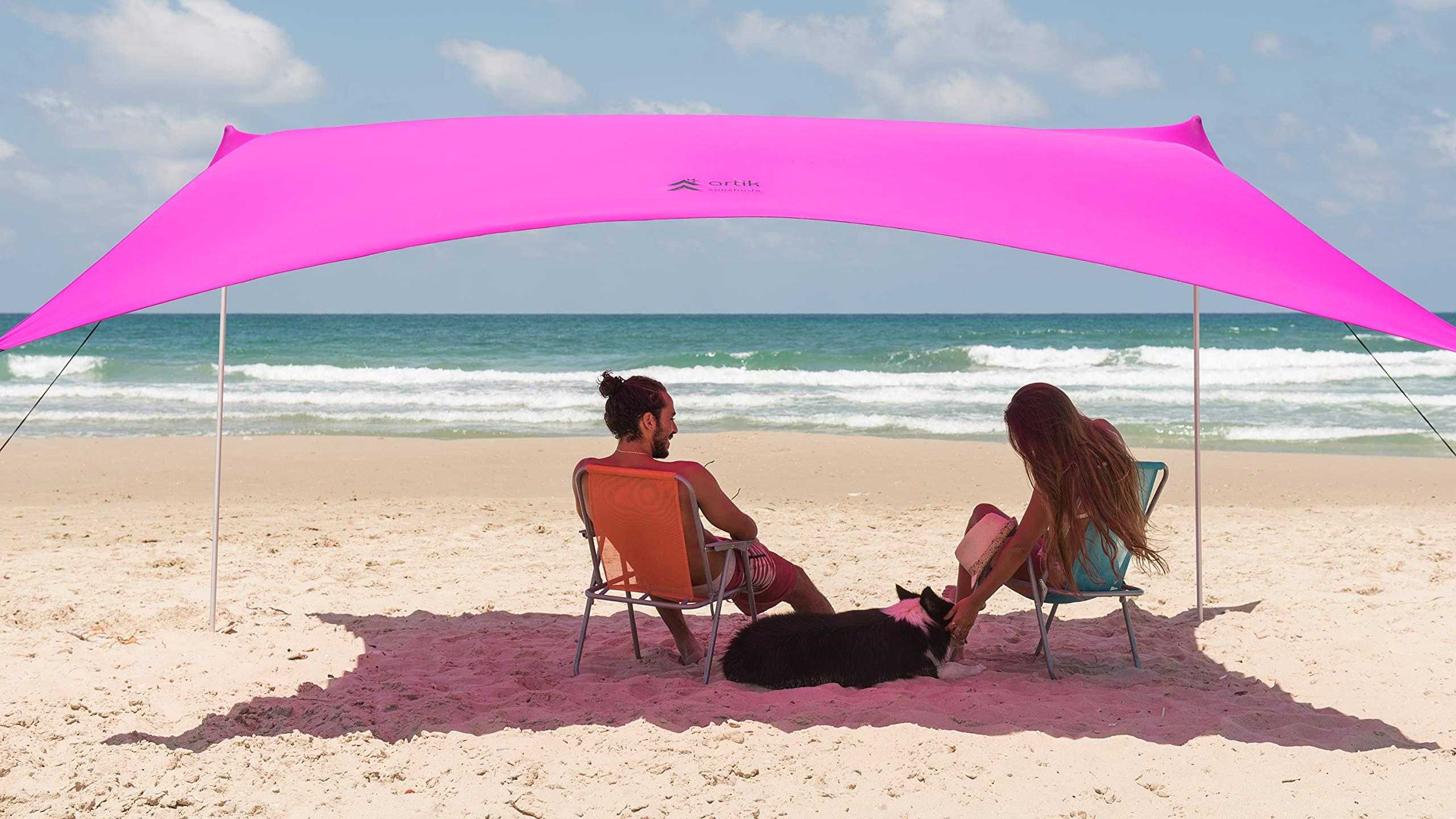 Family Beach Sunshade, with Sandbag Anchors, Simple & Versatile. SPF50, Lycra SunShelter for The Beach,Camping and Outdoors. (Fuchsia, Medium) by ARTIK SUNSHADE