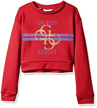 GUESS Girls Big Long Sleeve Two-Way Graphic Logo Popover, Rose red 7