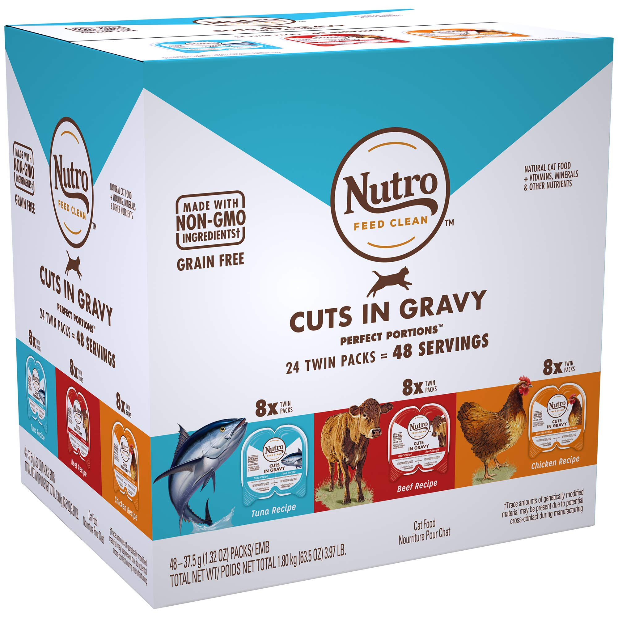 NUTRO PERFECT PORTIONS Grain Free Natural Adult Wet Cat Food Cuts in Gravy Real Beef, Real Tuna, and Real Chicken Recipes Variety Pack, (24) 2.6 oz. Twin-Pack Trays by Nutro