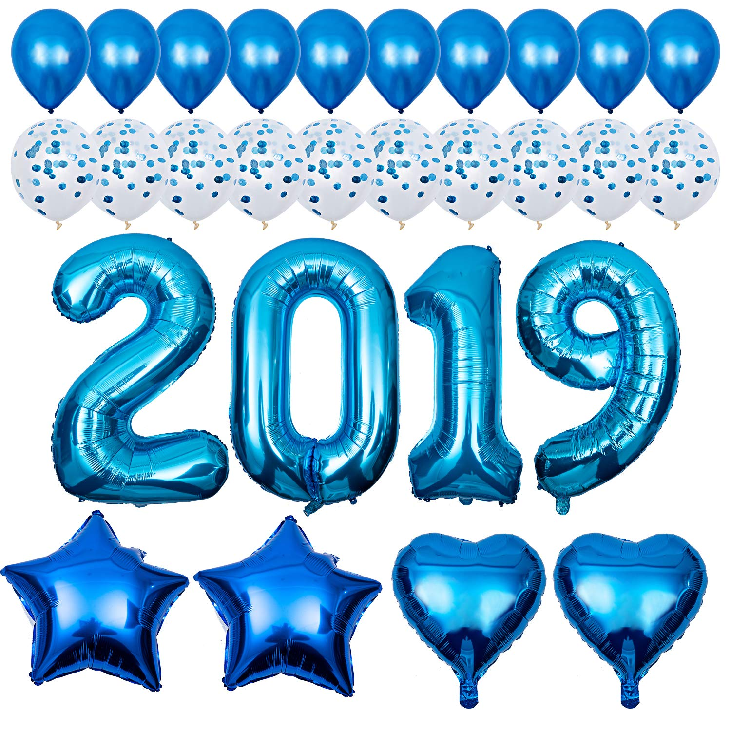2019 Balloons Kit Blue,  Graduation Party Balloons - 40 Inch Number Foil Balloons, Confetti Balloons for Wedding Bridal Shower and Children Graduation Party Decorations Supplies
