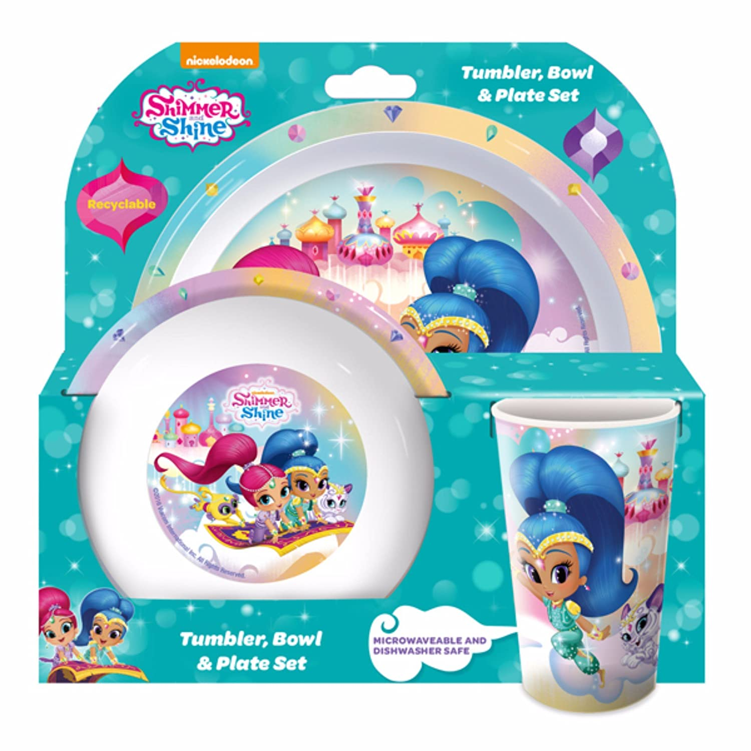 Shimmer And Shine Childrens/Girls Official 3 Piece Dinner Set (One Size) (Multicolored) UTSG9745_1