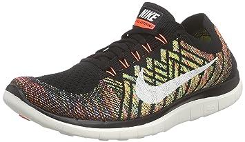 new style 7b10e be999 Nike Free 4.0 Flyknit, Zapatillas de Running para Hombre, NegroNaranjaAzul