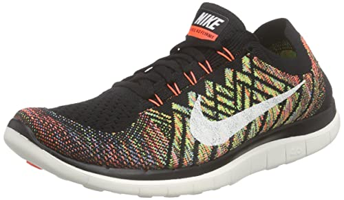 Nike Men's Free 4.0 Flyknit Running Shoe, BLACK/SAIL-HYPER ORANGE-UNIVERSITY BLUE, Size 8.5 D(M) US