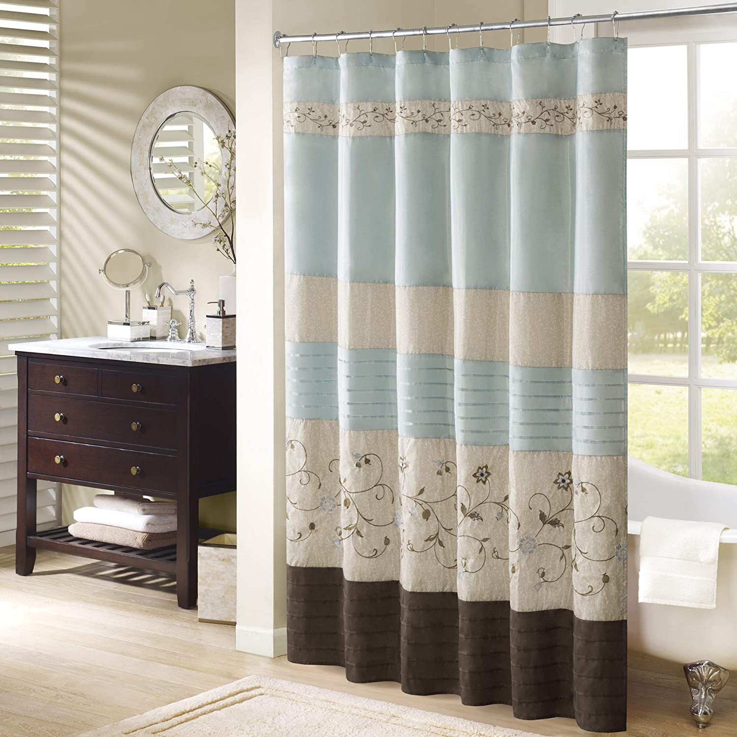 Madison Park Serene Shower Curtain Faux Silk Embroidered Floral Machine Washable Modern Home Bathroom Decorations, 72x72, Blue