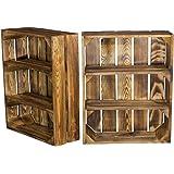 Estantería plana veteada con 3 compartimentos, estantería de madera de pared, para especias y…