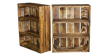 Estantería plana veteada con 3 compartimentos, estantería de madera de pared