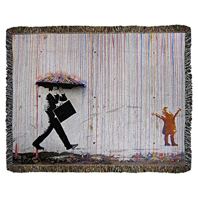 ArtVerse Banksy Graffiti Business Man Walking Little Girl in Rainbow Rain Woven Blanket - Artwork Content Process, 60 x 50, White: Home & Kitchen