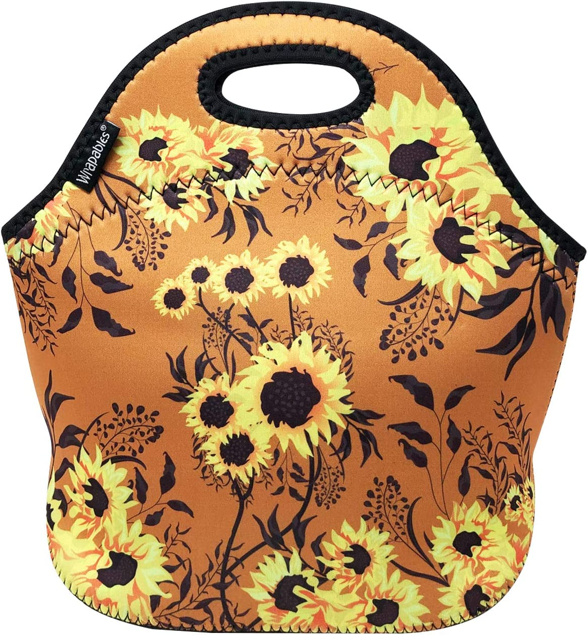 allydrew Insulated Neoprene Lunch Bag Zipper Lunch Box Tote, Sunflowers Tan