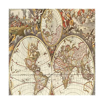Amazon.com: LoveBea Placemats Vintage Map Wallpapers - Cave Square ...