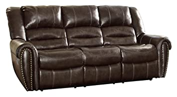 Genial Homelegance 9668BRW 3 Double Reclining Sofa, Brown Bonded Leather