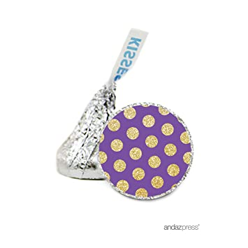 Andaz Press Chocolate Drop Labels Stickers, Birthday, Faux Gold Glitter Dots on Purple,