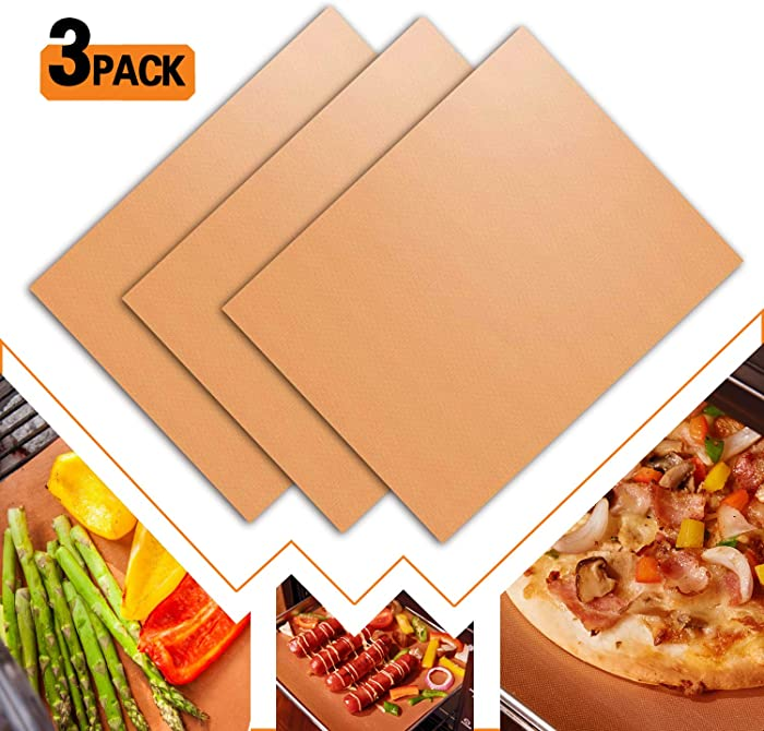 "Grill Mat Reusable Food Grade Durable BBQ Grill Mat Non-Stick Dishwasher Safe 500 ℉ Heat Resistance 15.75"" x 13"" (3-Pack Coppery)"