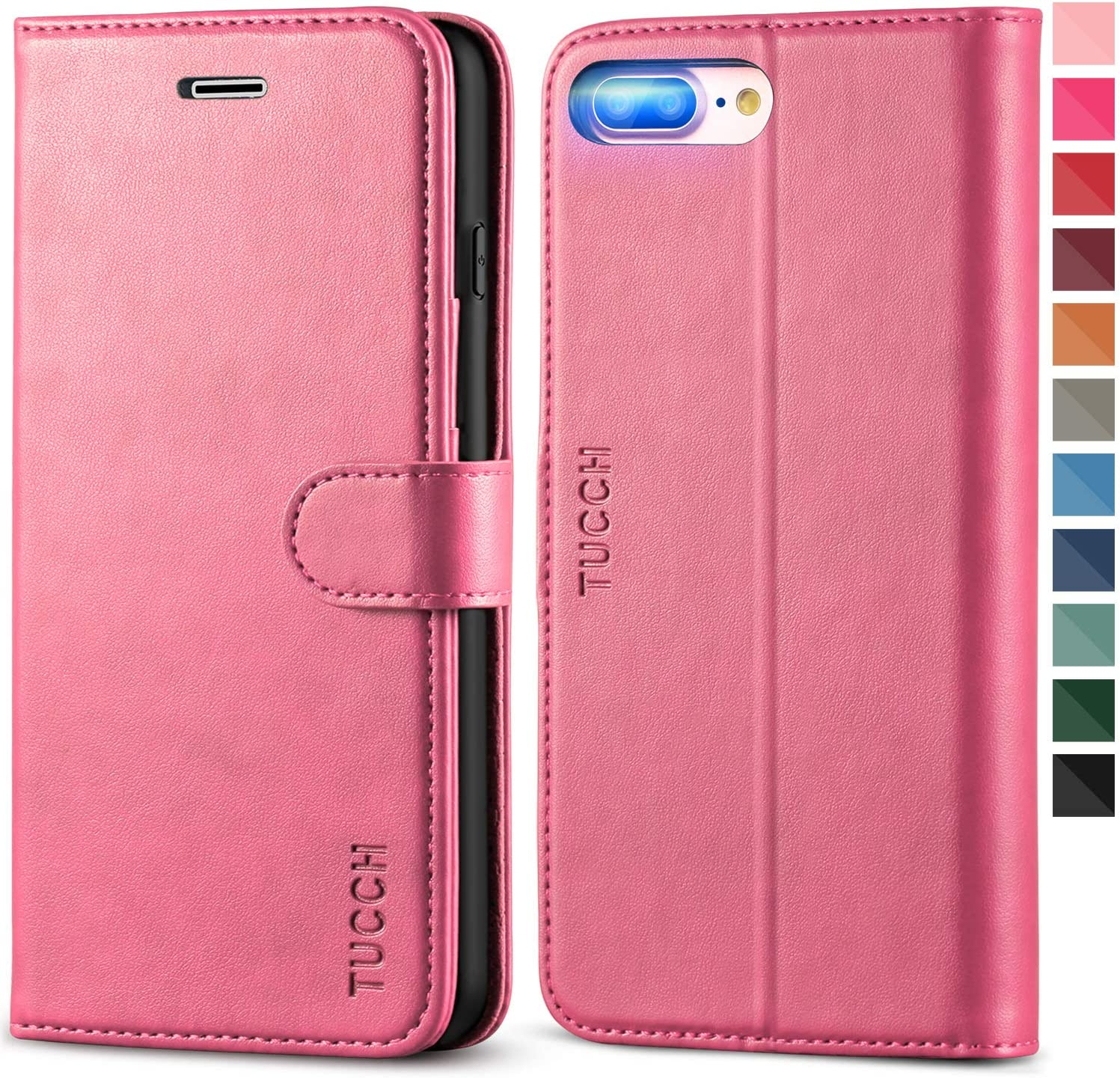 Business-Design Flip Cover for iPhone 8 Plus PU Leather Case Compatible with iPhone 8 Plus Cell Phone