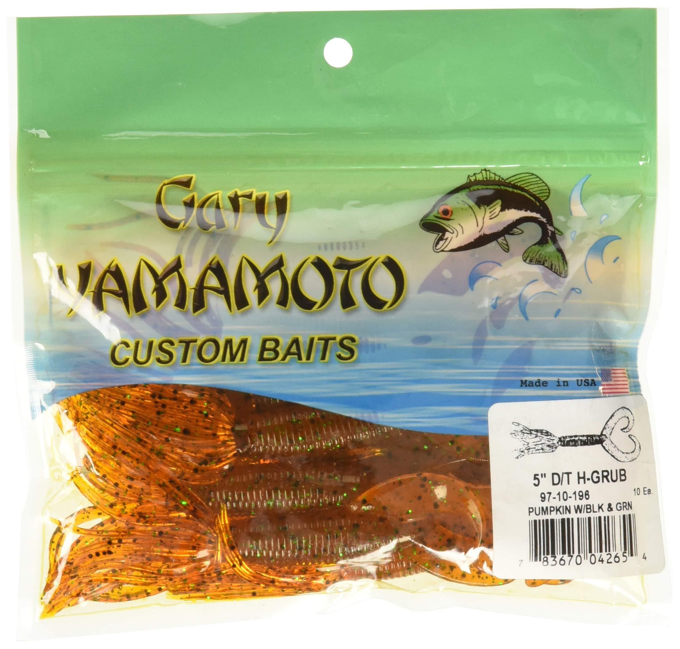 Yamamoto Yamamoto Double Tail Hula Grub 4'', Pumpkin w/Large Black, Small Green