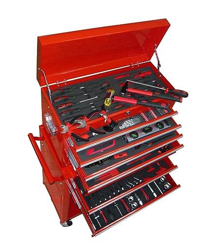 Cajonera con juego completo de herramientas manuales, destornilladores, llaves y adaptadores