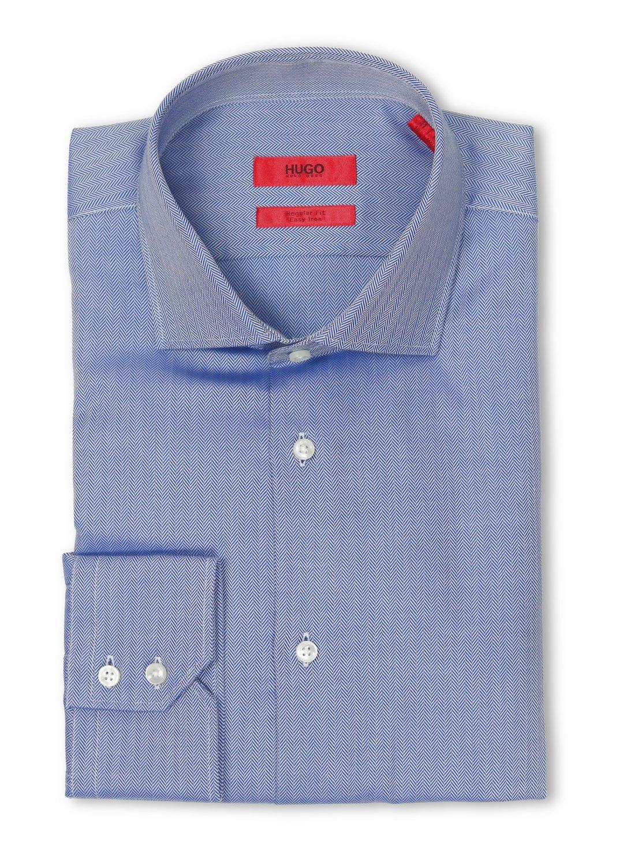 Hugo Boss C-Gordon Regular Fit Navy Herringbone Dress Shirt - 16.5
