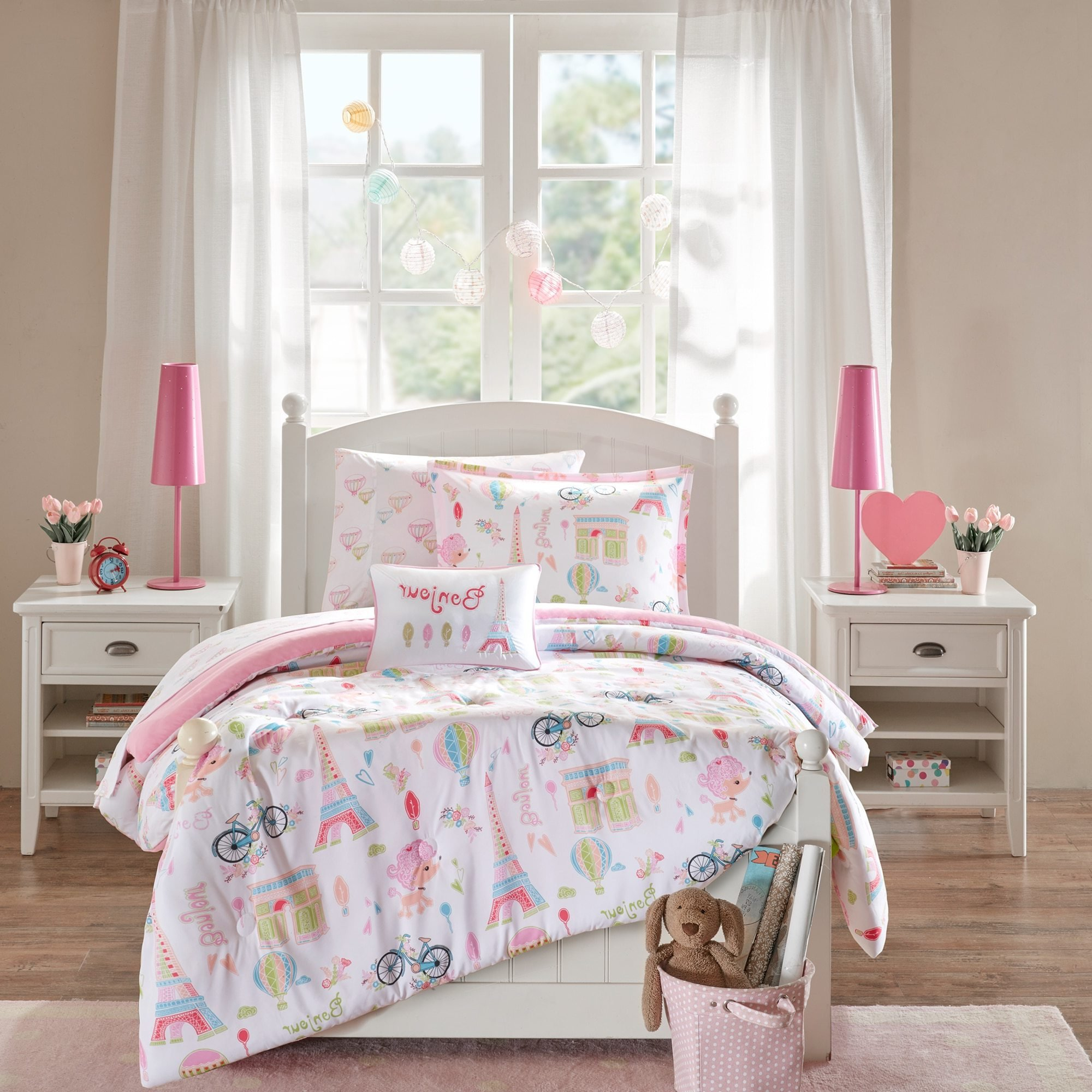 8 Piece Girls Pink White I Love Paris Comforter Full Set, Cute Girly All Over France Inspired Bedding, Fun Pretty Eiffel Tower Bicycle Bike Hot Air Balloon Poodle Dog Themed Pattern, Blue Green Yellow
