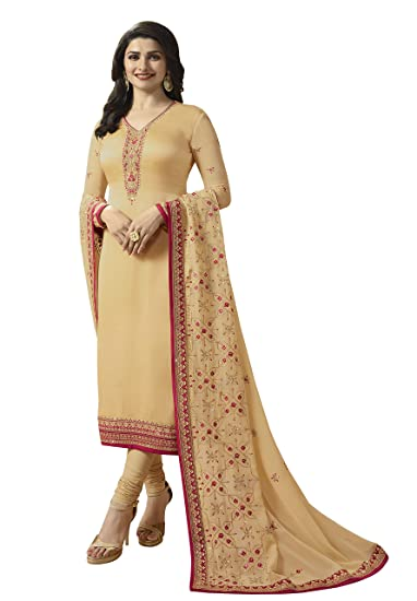 947e765d4569 ShopVilla Fashion Heavy Georgette Embroidered Semi-stitched Salwar Suit  Dupatta Material  Amazon.in  Clothing   Accessories