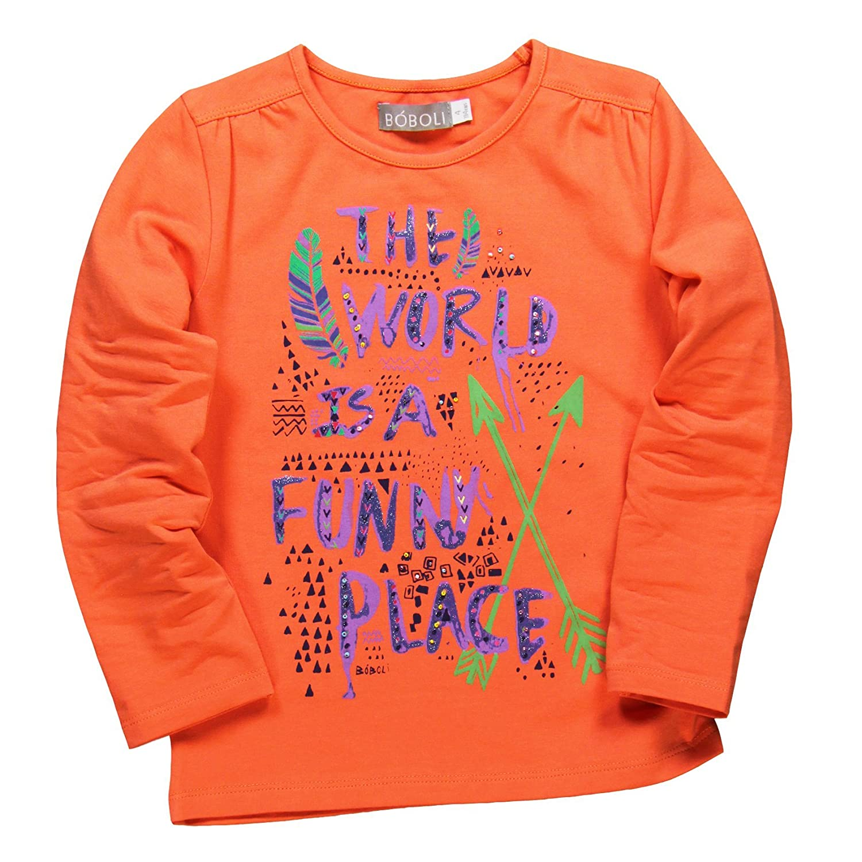 Boboli Baby-Mädchen T-Shirt Camiseta Manga Larga Orange Größe 6 Jahre 459110