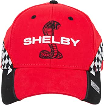 Shelby Snake Red Checkered Race Cap Hat   Officialy Licensed Shelby Product   Adjustable, One-Size Fits All