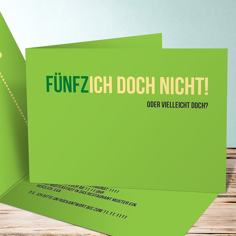 Originelle Einladungskarten 50 Geburtstag, Einladung Zum Geburtstag  Fünfzich 5 Karten, Horizontale Klappkarte 148x105 Inkl. Weiße Umschläge, ...