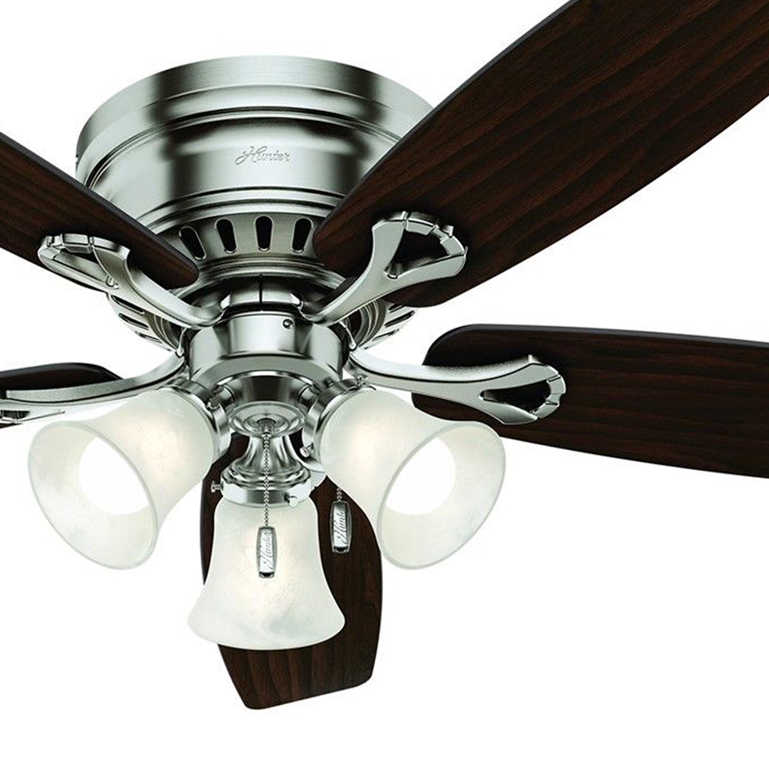 Hunter 52'' Brushed Nickel Finish Casual Ceiling Fan with Light Kit (Certified Refurbished)