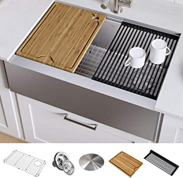 Kraus Kwf410 30 Kore Workstation 30 Inch Farmhouse Flat Apron Front 16 Gauge Single Bowl Stainless Steel Kitchen Sink With Integrated Ledge And Accessories Pack Of 5 Amazon Com