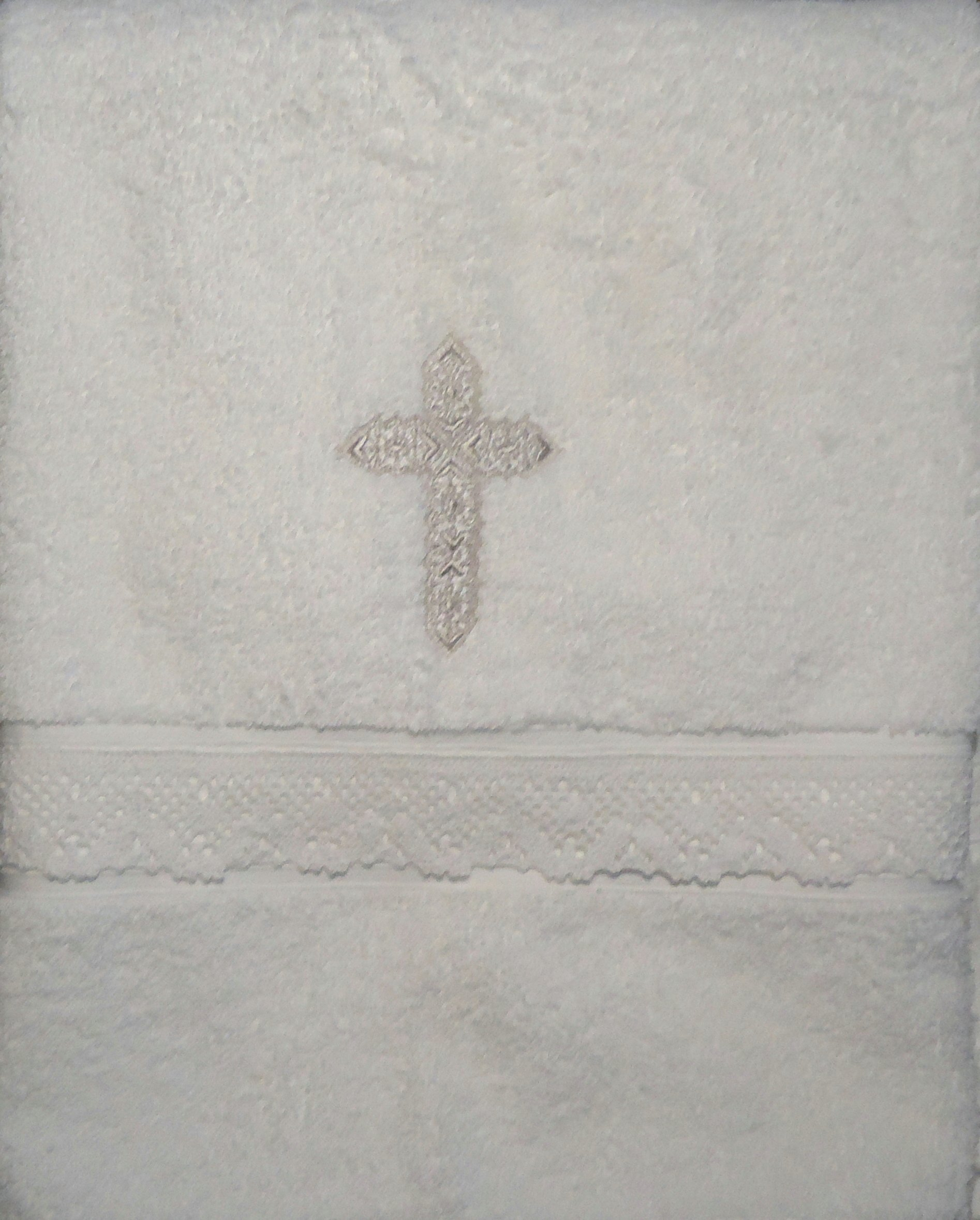 Integrity Designs Baby Baptism Towel with Cross and Lace by Integrity Designs