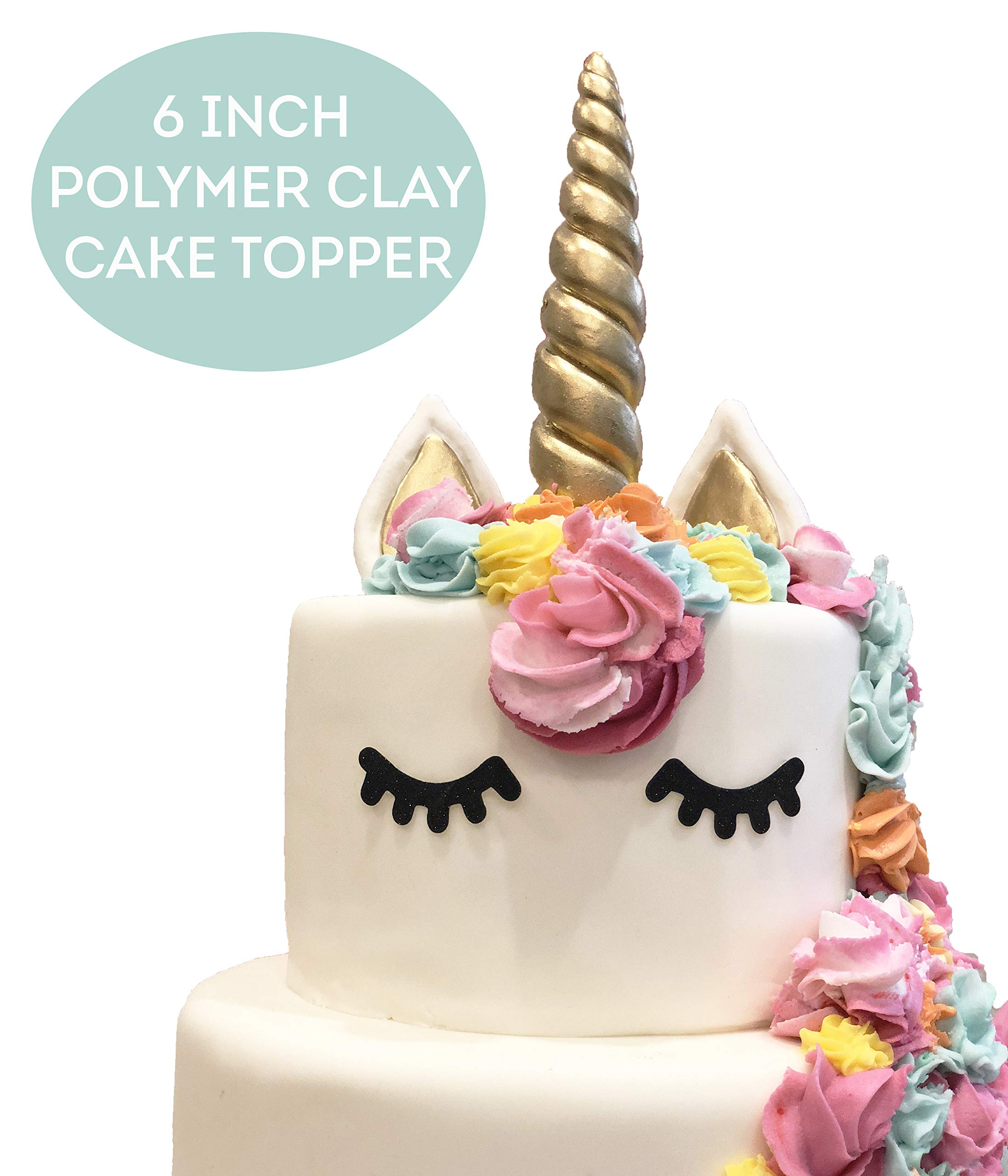 LIMITLESS Unicorn Cake Topper Handmade 5 Piece Set (Set Includes: 1 Horn, 2 Ears, and 2 Eyelashes). Unicorn party… 3