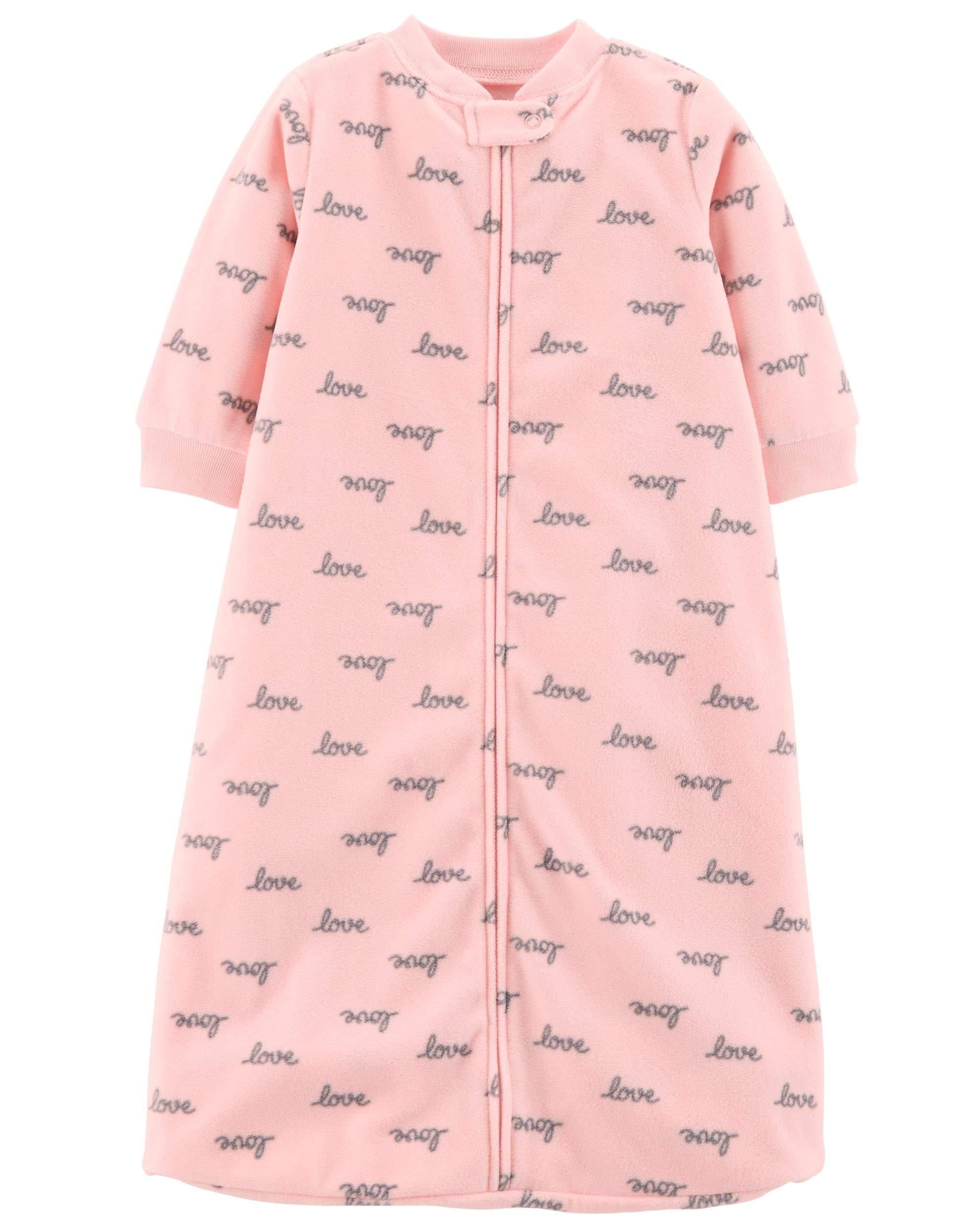 Carter's Unisex Baby Fleece Sleepbag Sleepsuit, Pink Love, Medium 6-9 Months