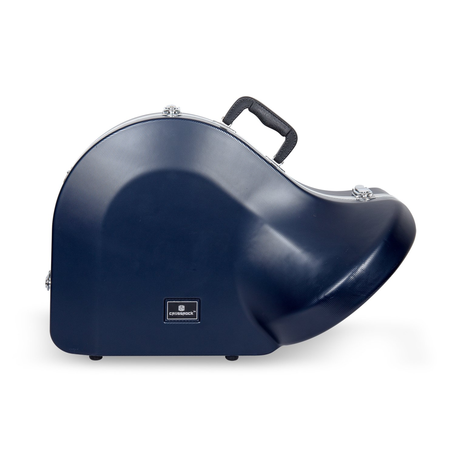 Crossrock CRA860FHBL French Horn, Contoured ABS Molded Hard Shell Case with Padded Strap in Blue