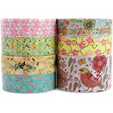 Crafty Rabbit Floral Washi Tape - Set of 7 Rolls - 229 Feet Total - Multicolor