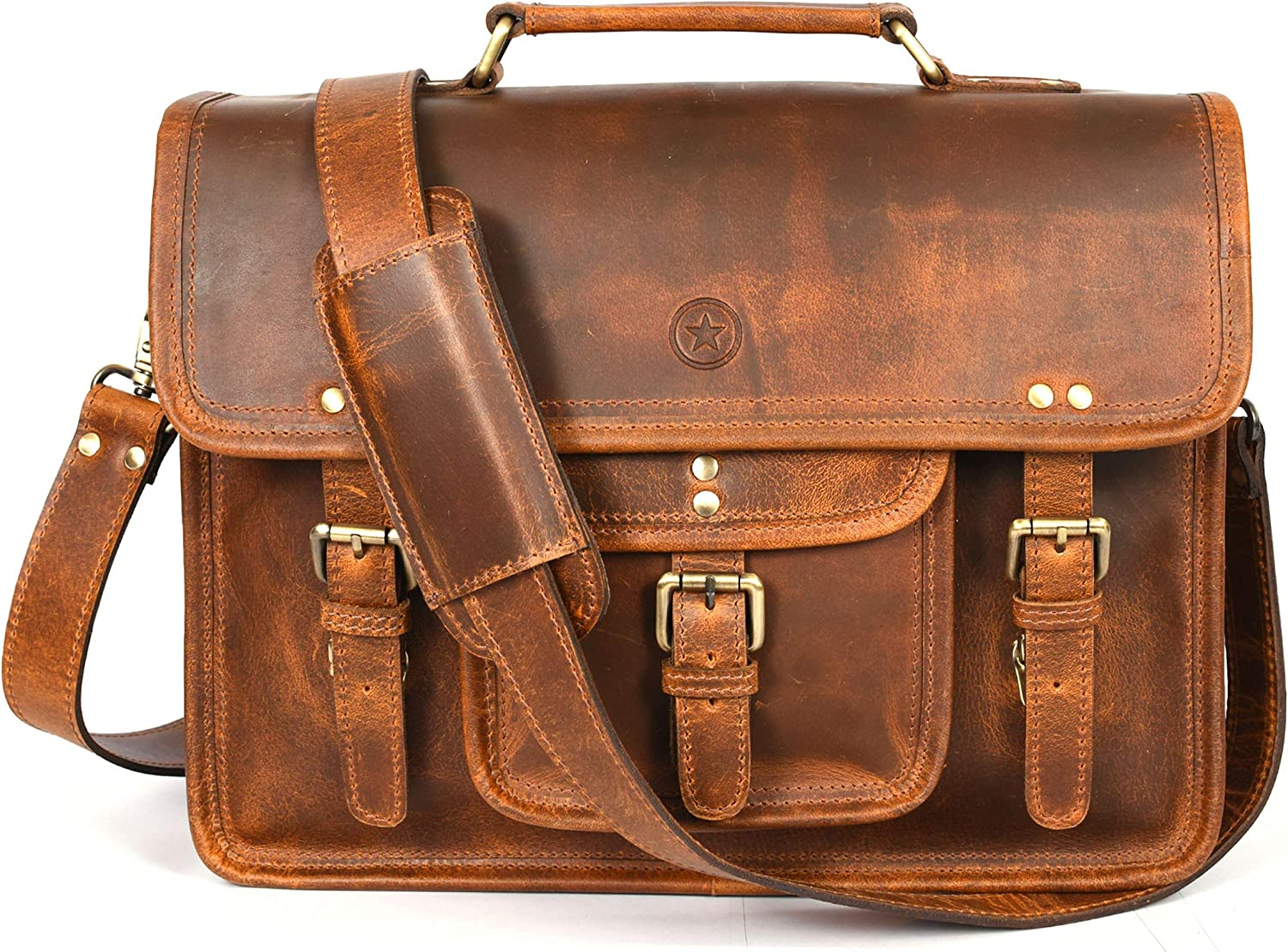 15 inch Vintage Leather Messenger Satchel Bag | Briefcase Laptop Messenger Bag by Aaron Leather