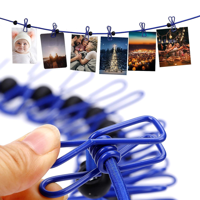 Nero+Blu MengH-SHOP Filo Stendibiancheria Portatile Elastico Clothesline con 12 Mollette e 13 Fibbie di Posizionamento Uso per Esterno Campeggio Viaggio e Interno Hotel Casa 2 Confezioni
