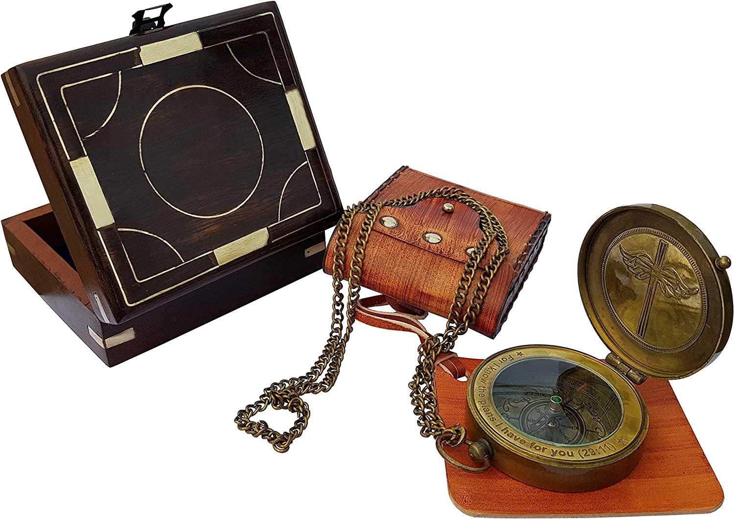 Brass Nautical - Compass with Leather Carry Pouch