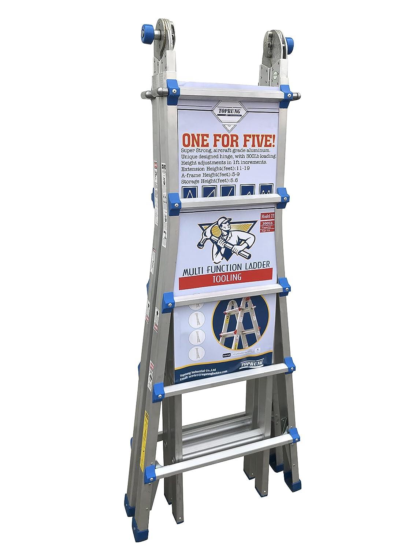toprung 22 feet aluminum extension ladder 300bls duty rating ladder amazoncom
