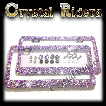 2 Row CRYSTAL AB Rhinestone Diamond Sparkle Bling License Plate Frame and Caps