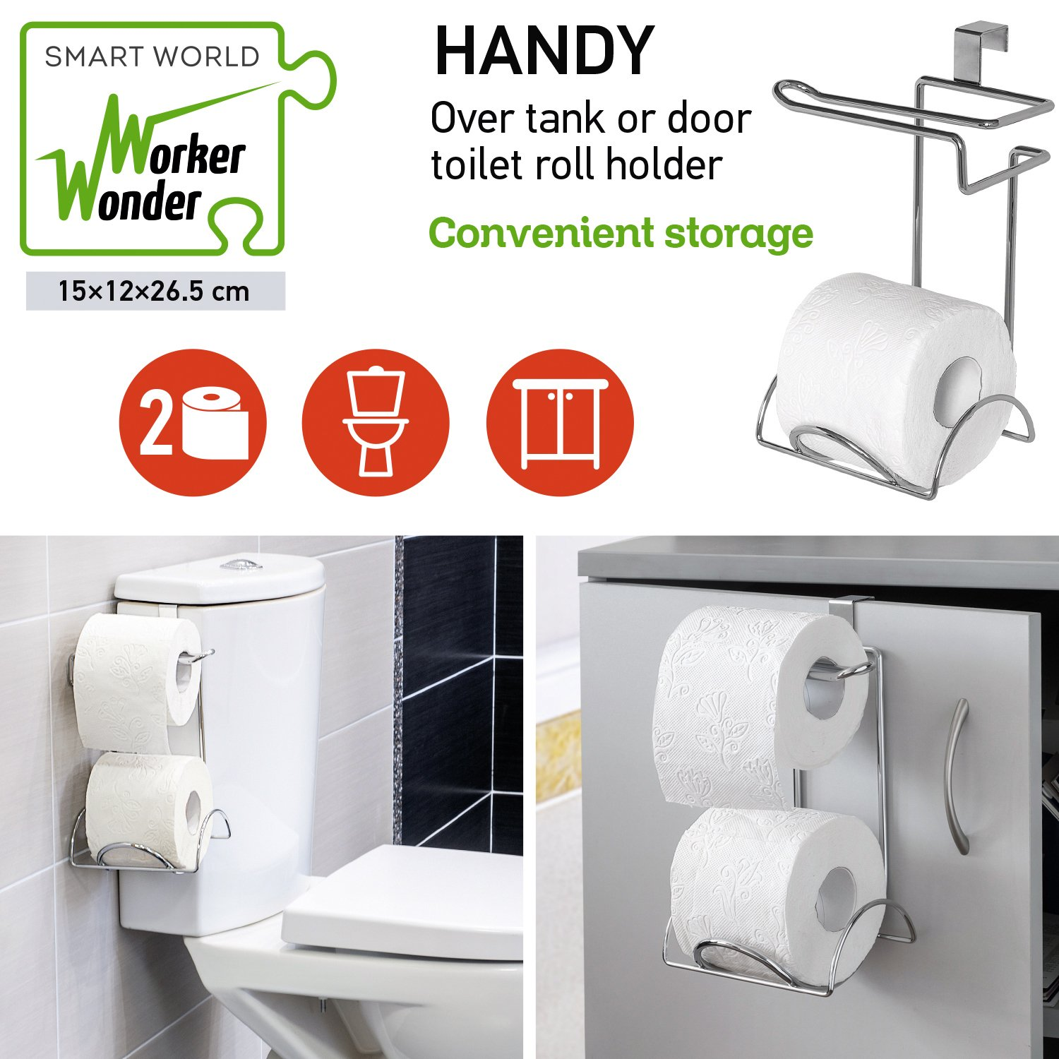 Wonder Worker Handy Toilet Paper Holder For 2 Rolls Amazoncouk Kitchen Home