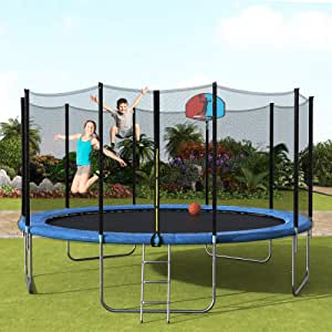 Amazon Com Merax Trampoline For Kids Recreational Trampoline With Enclosure Safety Net Jumping